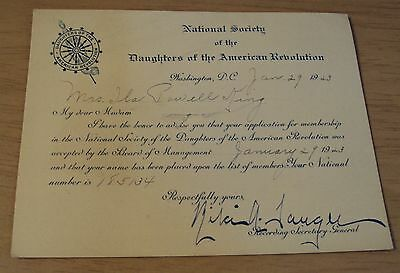 """1923 D.A.R. Acceptance Certificate/Card~""""DAUGHTERS of the AMERICAN REVOLUTION""""~"""
