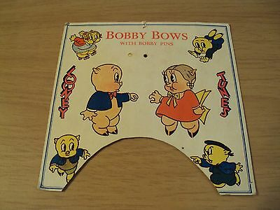 "Early RARE 1930's Advertising Card Backer~""LOONEY TUNES""~Porky/Petunia Pig~"