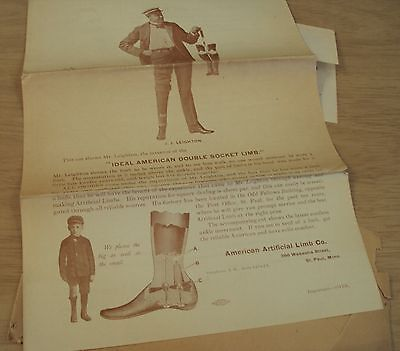 "UNIQUE/Antique 1903 Ad Mailer~""The AMERICAN ARTIFICIAL LIMB Co""~Illustrated~"