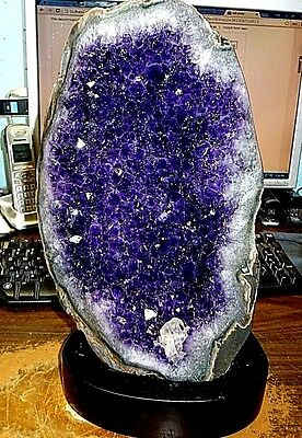 Huge Polished Amethyst Crystal Cluster Geode From Uruguay Cathedral W' Wood Base