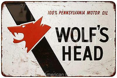 Wolf's Head Motor Oil Vintage Look Reproduction 8x12 Metal Sign 8121511