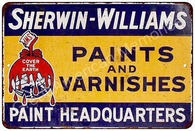 Sherwin Williams Paints & Varnishes Vintage Look Reproduction Sign 8x12 8122238