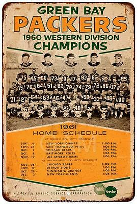 1960 Green Bay Packers Vintage Look Reproduction Metal Sign 8x12 8121664