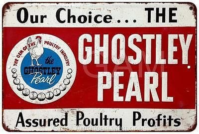 Ghostly Pearl Poultry Profits Vintage Look Reproduction 8x12 Metal Sign 8120731