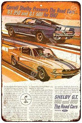 1967 Shelby G.T. 350 and 500 Vintage Look Reproduction Metal Sign 8x12 8122469