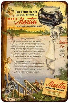 Martin Outboard Motors Vintage Look Reproduction Metal Sign 8x12 8122487