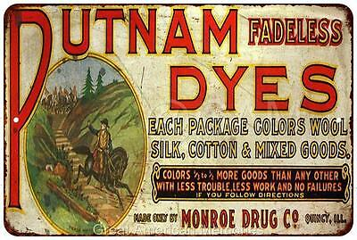 Putnam Fadeless Dyes Vintage Look Reproduction Metal Sign 8x12 8121939