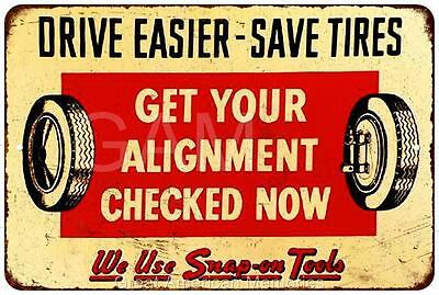 Wheel Alignment with Snap-On Vintage Look Reproduction Metal Sign 8x12 8121725