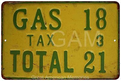 1920's Gas Station Prices Vintage Look Reproduction 8x12 Metal Sign 8121503