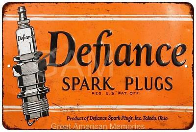 Defiance Spark Plugs Vintage Look Reproduction Metal Sign 8x12 8121708