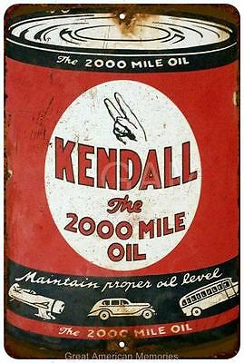 Kendall 2000 Mile Oil Can Vintage Look Reproduction 8x12 Metal Sign 8121322