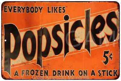 Everybody Likes Popsicles Vintage Look Reproduction 8x12 Metal Sign 8120685
