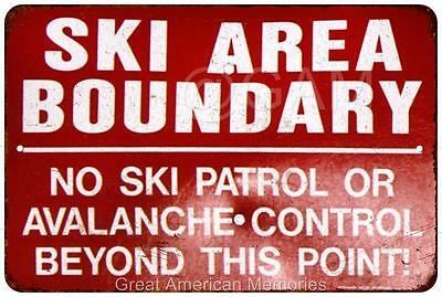Ski Area Boundary No Ski Patrol Vintage Reproduction Metal Sign 8x12 8121912