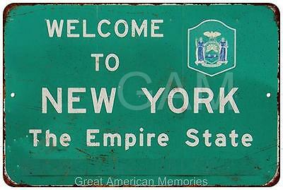 Welcom To New York Highway Sign Vintage Look Reproduction Sign 8x12 8120031