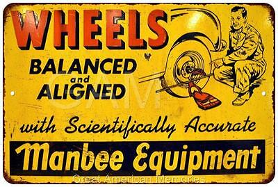 Wheels Balanced & Aligned Vintage Look Reproduction Metal Sign 8x12 8121715