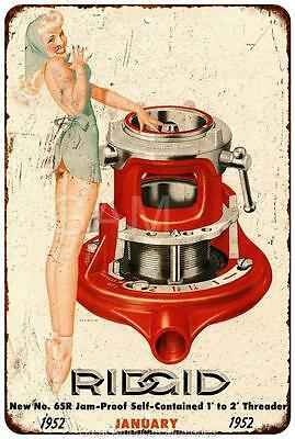 January 1952 Ridgid Pin Up Vintage Look Reproduction 8x12 Metal Sign 8120825