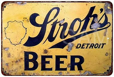 Stroh's Beer Vintage Look Reproduction Metal Sign 8 x 12 8120303