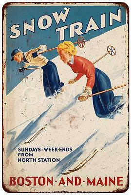 Snow Train Boston and Maine Vintage Look Reproduction 8x12 Metal Sign 8120935