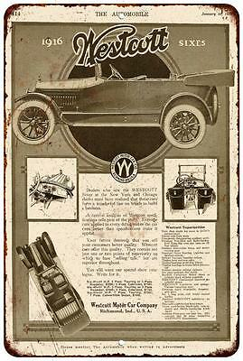 1916 Westcott Motor Car Co. Vintage Look Reproduction Metal Sign 8 x 12 8120217