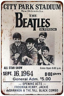The Beatles City Park Plaza New Orleans Vintage Reproduction Sign 8x12 8122107