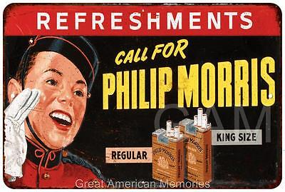 Call for Phillip Morris Vintage Look Reproduction Metal Sign 8 x 12 8120349