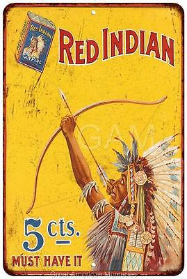 Red Indian Plug Tobacco 5? Vintage Look Reproduction Metal Sign 8 x 12 8120423