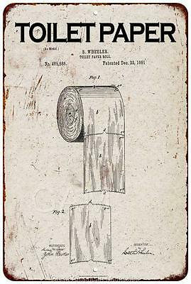 1891 Toilet Paper Roll Vintage Look Reproduction 8x12 Metal Sign 8120980