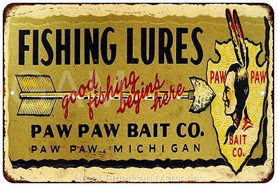 Pay Paw Bait Co. Fishing Lures Vintage Reproduction 8x12 Metal Sign 8121005