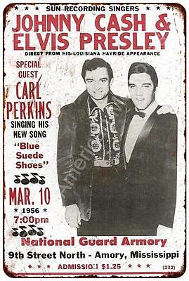 Johnny Cash and Elvis Presley Concert Vintage Reproduction Sign 8x12 8122177