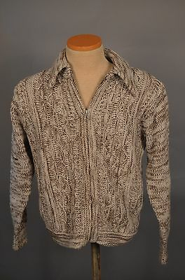 VTG Mens CAMPUS Full Zip Zipper Cardigan Sweater Rockabilly ACRYLIC MEDIUM M