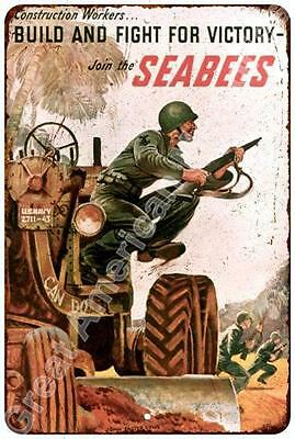 Join the SEABEES Vintage Look Reproduction Metal Sign 8x12 8123234