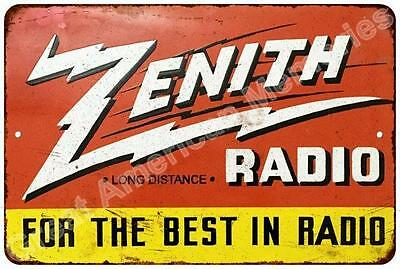 Zenith Radio Vintage Look Reproduction Metal Sign 8x12 8123016