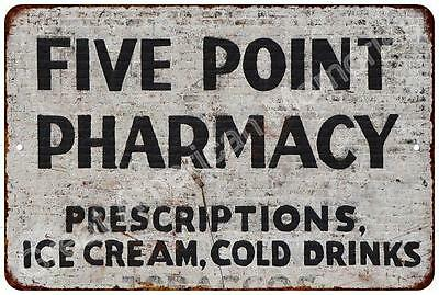 Five Point Pharmacy Vintage Look Reproduction Metal Sign 8x12 8122630