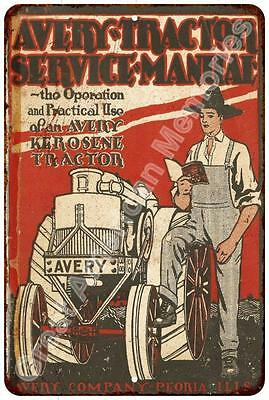 1917 Avery Tractor Service Manual Reproduction Metal Sign 8x12 8123351