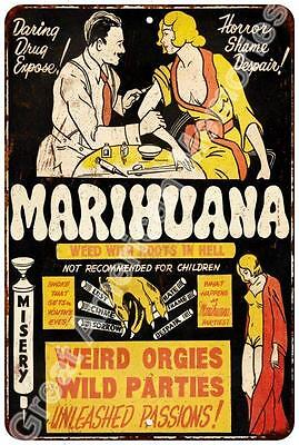 Marihuana Vintage Look Reproduction Metal Sign 8x12 8123169