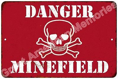 Danger Minefield Vintage Look Reproduction Metal Sign 8x12 8123625