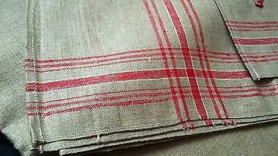 rare old ecru linen German Mangle Cloth or long runner with red stripes around