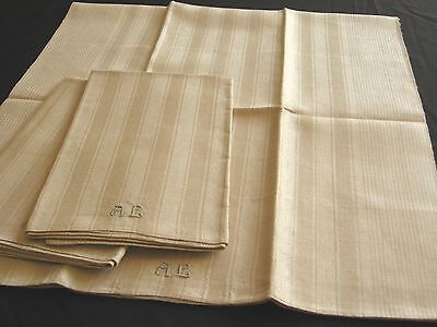 3 old unused linen kitchen Towels with woven stripe pattern