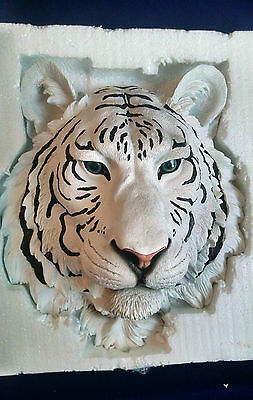 WHITE TIGER Head Hanging Wall Mount Home Decor Statue Bust