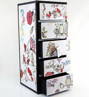 Children's Owl & Flowers Chest of Drawers Bedside Storage Cabinet Girls Bedroom