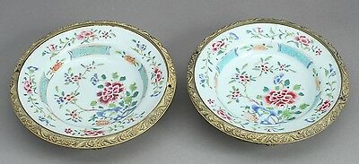 Chinese famille rose Qianlong mounted dishes 1736-1795