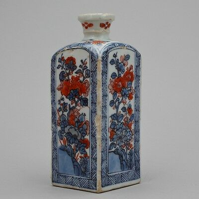 Chinese blue and white clobbered Kangxi flask 1662-1722 Dutch market