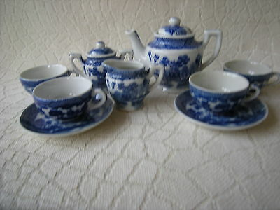 Vintage Blue Willow Child's Toy Dishes Occupied Japan Tea Set