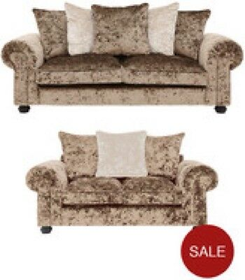 New Boom Crushed Velvet Mink 3 and 2 Seater Sofa / Suite In Scatter Back