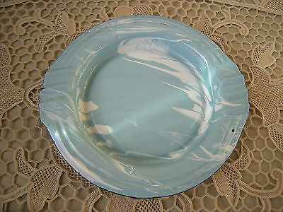 Vintage Blue and White Swirl Granite Ware Ashtray Excellent Condition