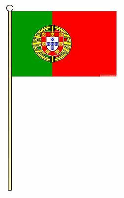 "PORTUGAL 18"" x 12"" LARGE HAND WAVING COURTESY FLAG & POLE PORTUGUESE"
