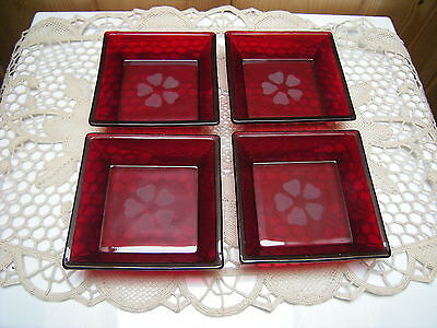 Four (4) Anchor Hocking  Royal Ruby Ashtrays with Etched Flowers