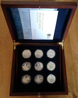 history of the royal navy HMS ships & captains silver proof £5 coin set rare