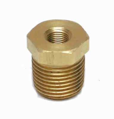 "Brass Reducer 1/8"" NPT(F) to 1/2"" NPT (M) Reducer Bushing adapter gauge"