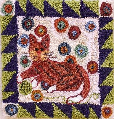 "Punchneedle Pattern by Country Threads  ""Caught In The Act"" (Cat Playing)"